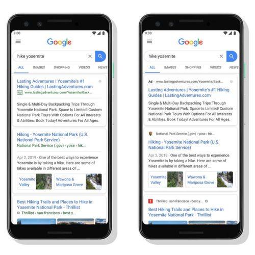 Le nouvel affichage des résultats mobile de Google