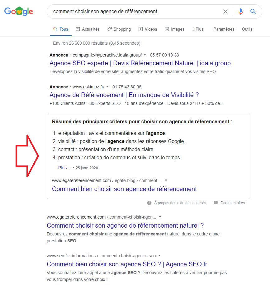 position zéro google
